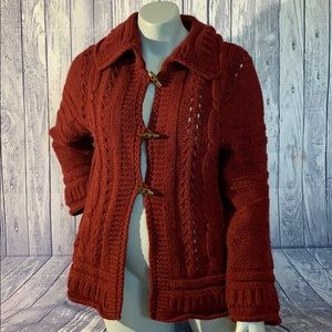Oilily Burgundy Wool Blend Cable Knit Cardigan, S